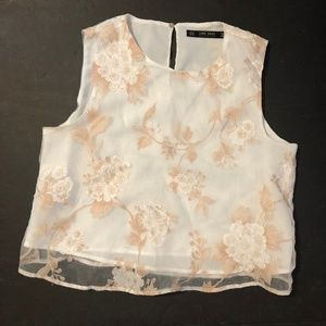 Zara Layered Floral Keyhole Crop Top Blouse